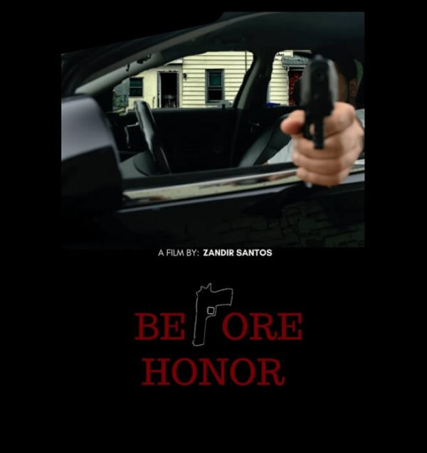 Before Honor, crime thriller film. Man pointing gun. Click to enhance viewing. Poduct number 1911. Available on www.marilynfilms.com.