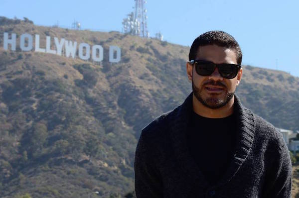 Hollywood sign. Hollywood hills. Man in Hollywood hills. BonVida Skool, Anthony Flores's Urban Drama Short Film.