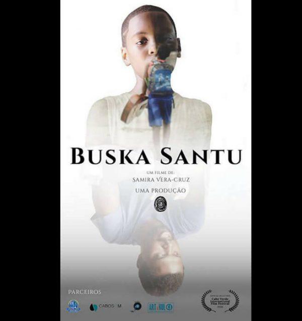 Buska Santu. Boy with a guitar. Boy and man reflection.