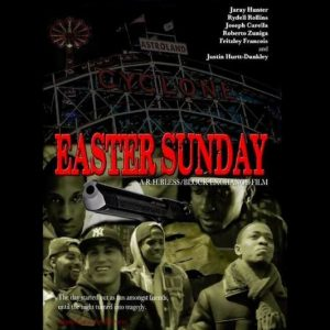 Group of males, Man with a gun, Easter Sunday movie cover.