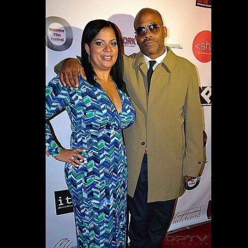 Emelyn Stuart and Dame Dash. Emelyn Stuart. Dame Dash. Ocktober Film Festival. Man and woman pose for picture.