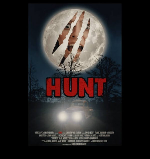 Full moon. Old pick up truck. claw through moon. Hunt.
