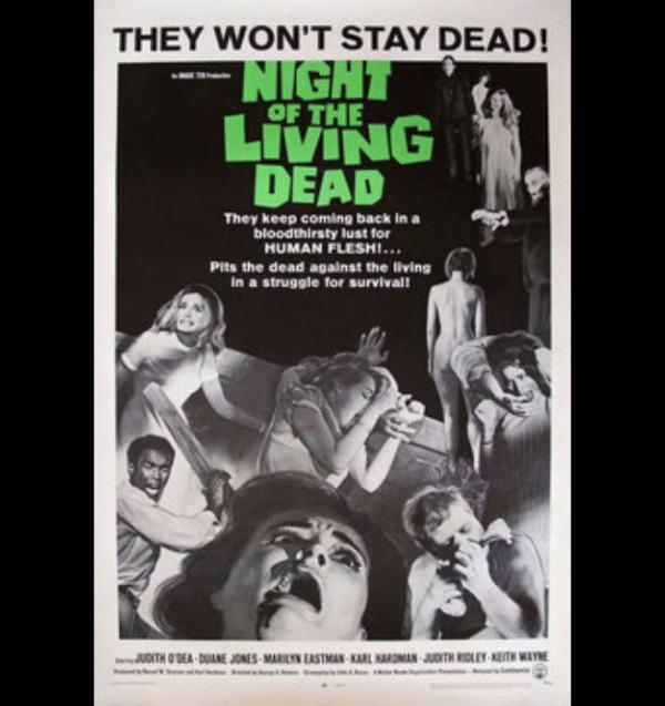 Night of The Living Dead film poster 1968 (Duane Jones, Judith O'Dea)