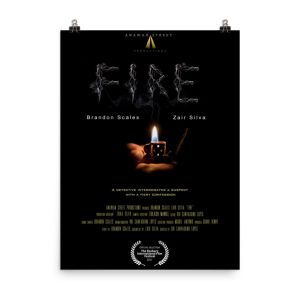Fire movie poster. Lit lighter. Click to enhance viewing. Available on www.marilynfilms.com, product number 1651.