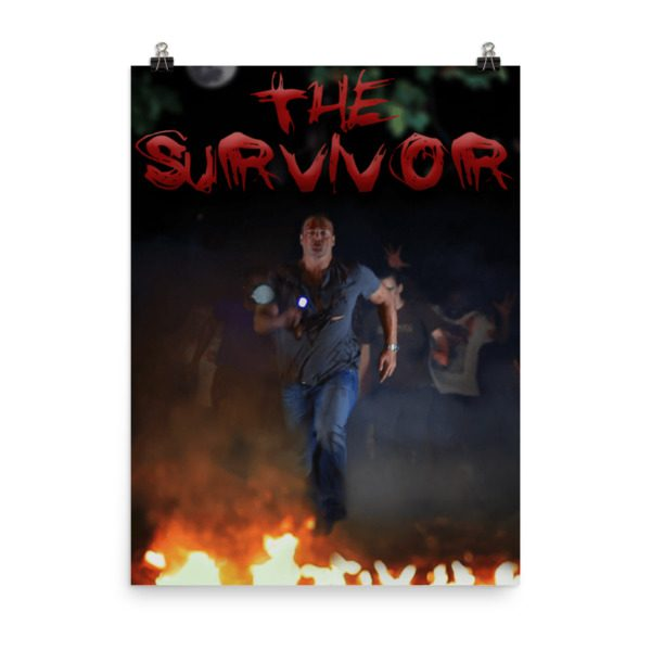 The Survivor movie poster. Man running. Click to enhance viewing. Available on www.marilynfilms.com, product number 1649.